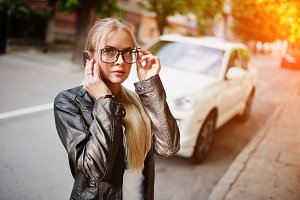 Stylish blonde woman
