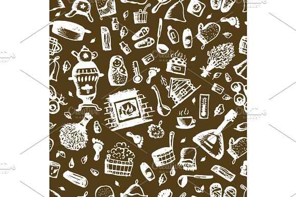 Russian Sauna Seamless Pattern For Your Design