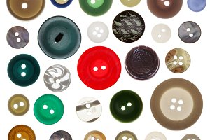 various sewing button on white backg