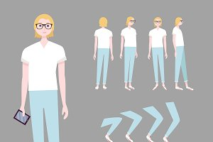 Blonde Woman Character Animation Set