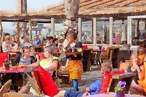 people beach cafe