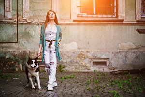 Girl with husky dog