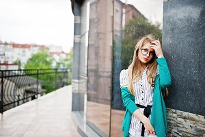 Trendy girl at glasses