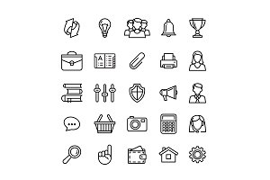 line phone icons set isolated