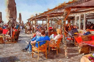 people by beach cafe