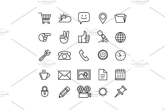 Line Phone Icons Set Isolated