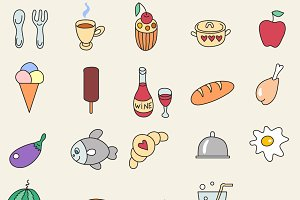 25 Food icon set