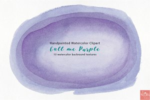 Watercolor Clipart Call me Purple
