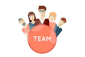 Project team. Avatars flat design.