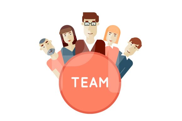 Project team. Avatars flat design. - Illustrations