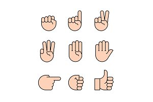 hand gestures. Flat style vector