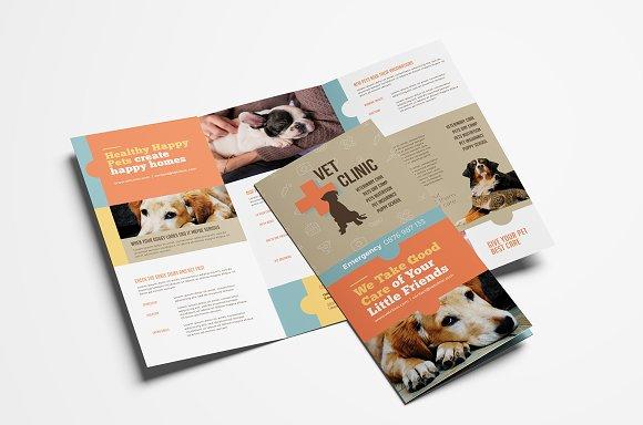 vet clinic trifold brochure template brochure templates creative market