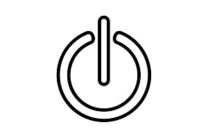 Power on/off line icon. black