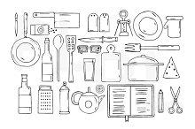 Kitchen utensils and cookware.Icons.