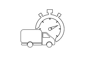 Fast delivery line icon. shipping