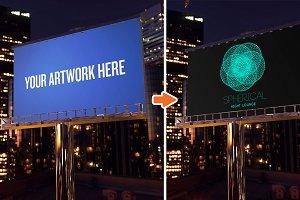 Night Advertising Mockup Templates