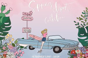 Spring and summer clipart collection