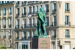 Statue of General Pierre Yrieix Daumesnil in front of the city hall of Vincennes, a town near Paris