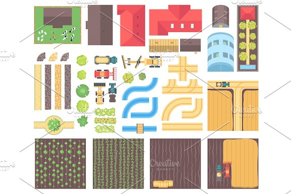 Farm Elements Set Of Modern Vector Isolated Objects