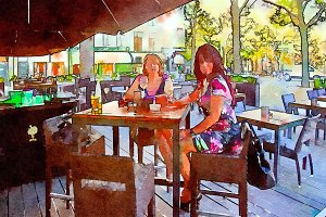 women are drinking in street cafe