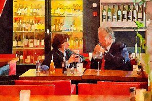 couple in city cafe