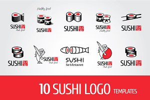 Sushi vector logos collection