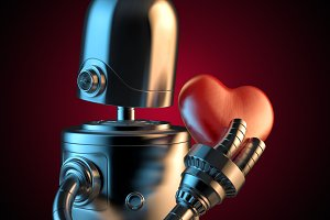 Robot with a red heart