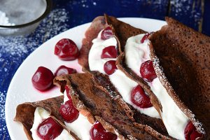 Chocolate Crepes with Cherry