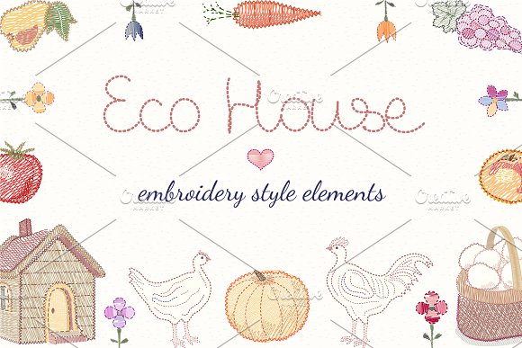 Eco House Set Embroidery Style