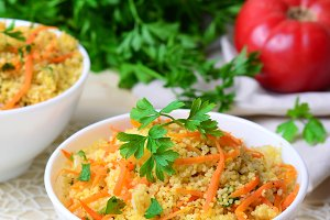 Vegetable Couscous on Bright Background