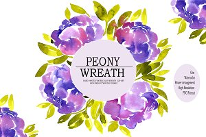 Watercolor Peony Wreath