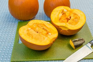 Pumpkin cut in half