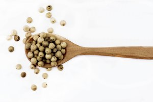 White Pepper in Wooden Spoon