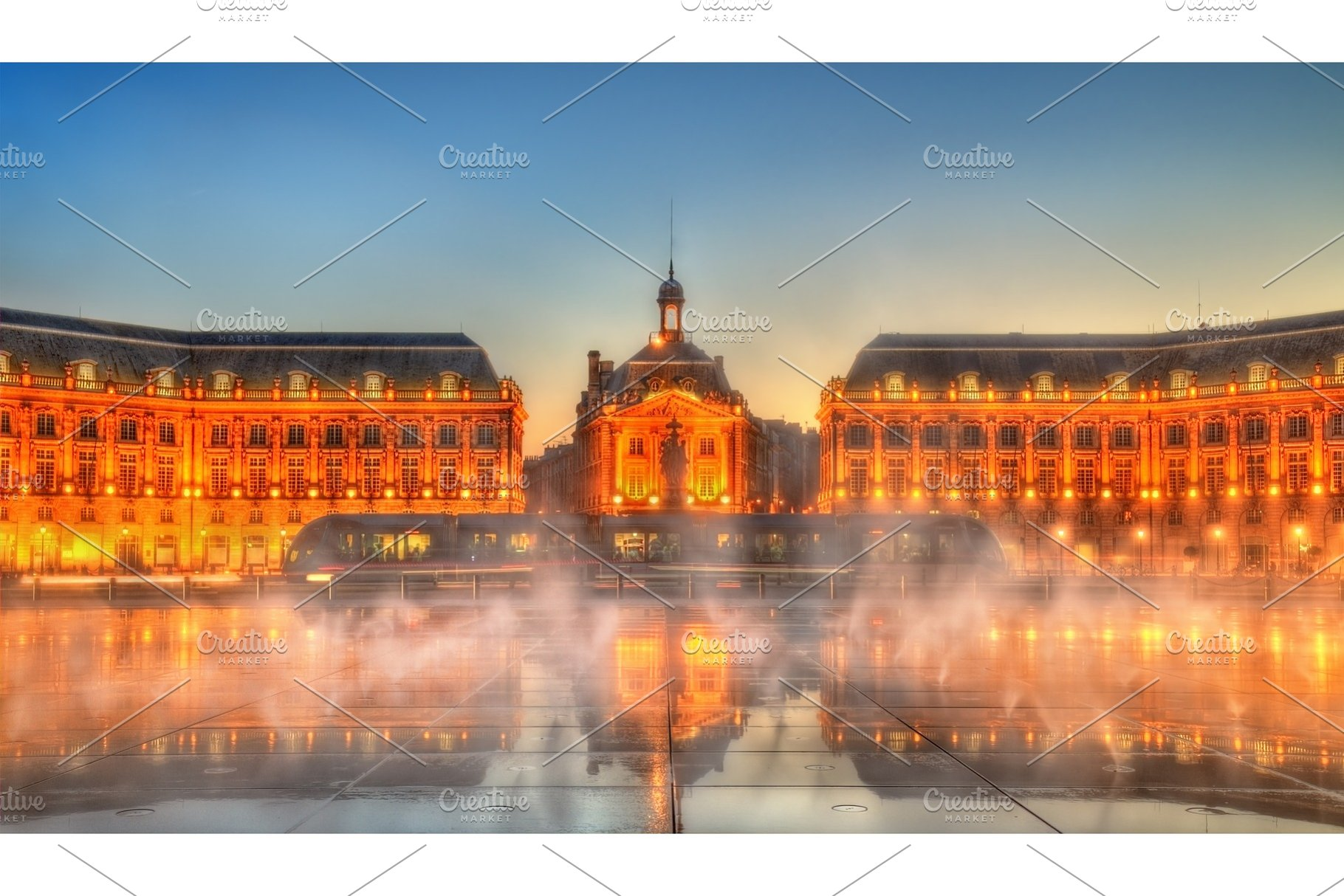 Iconic View Of Place De La Bourse With Tram And Water Mirror Fountain In Bordeaux France