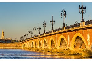 Pont de pierre, an old bridge in Bordeaux, France