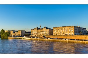 Buildings on the riverside of the Garonne in Bordeaux, France