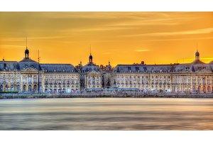 View of Place de la Bourse and the Garonne river in Bordeaux, France