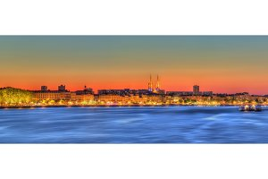 Panorama of Bordeaux and the Garonne river - France