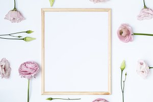 Frame Mockup With Pink Flowers | PSD