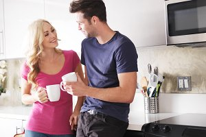happy couple drinking coffee