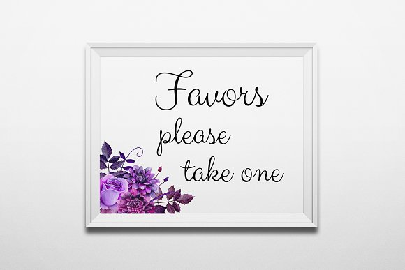 Favors Take One Sign Purple Wedding