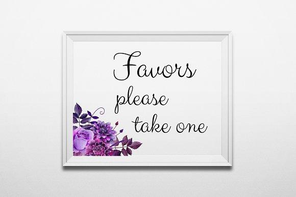 Favors Take One Sign Purple Wedding