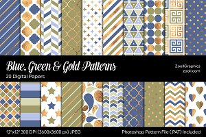 Blue, Green & Gold Digital Papers