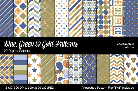 Blue Green Gold Digital Papers