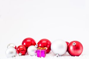 Christmas balls and white background