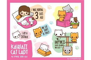 Kawaii Cat Lady