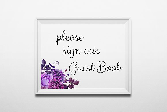 Guest Book Sign Purple Wedding Print