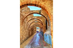 Arched street in the old town of Safi, Morocco
