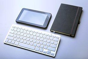 business desktop with laptop