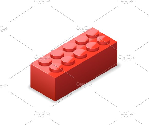 Bright Colorful Red Lego Brick